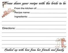 Wedding Recipe Cards Western Design 40 Cards - Wedding favors (*Amazon Partner-Link)