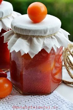 rosii cherry la borcan Salsa, Pudding, Jar, Desserts, Food, Canning, Tailgate Desserts, Deserts, Custard Pudding