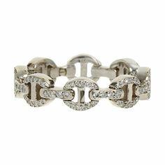 HOORSENBUHS White Gold & Pave Diamond Antiquated Dame Tri-Link Ring at Barneys.com