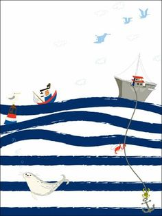 """It's a Small World - Striped Waves - Oopsy daisy, Fine Art for Kids presents Disney® """"It's a Small World"""" Collection"""" - set sail from Paris on a sea of striped waves, perfect for the nautical wall decor collection (part of the """"Paris Boy"""" collection by Mary Blair). ©Disney"""