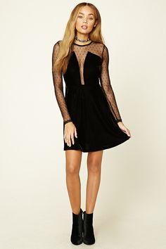 Semi-Sheer Velvet Mesh Dress