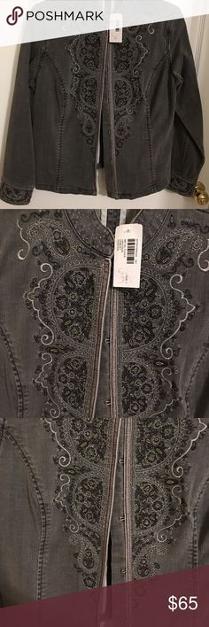 Chico's Platinum Jean Jacket Chico's Platinum pewter colored Jean jacket. Embroidered and bead work. Large hook closure. Chico's size 1 equal to size medium or size 8. Really pretty jacket and color. Fabric 99% cotton and 1% spandex. NWT Chico's Jackets & Coats Jean Jackets