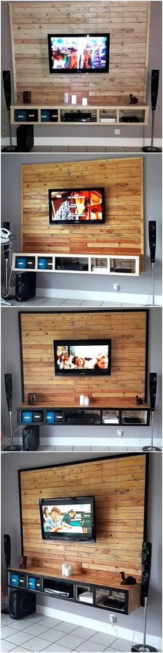 Recycled wooden pallet planks are superbly assembled together for the creation of this pallet wall media console. The whole designing of the media console is done with the durable and splendid looking rustic wood pallet. This creation is composed of a large wooden headboard and along drawer-like structure for the placement of various electronic items. #pallets #woodpallet #palletfurniture #palletproject #palletideas #recycle #recycledpallet #reclaimed #repurposed #reused #restore #upcycle…