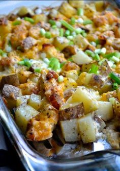 Loaded Baked Potato Casserole. Yummy bits of bacon, onion, potatoes & LOTS of cheese my friends!