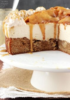 Caramel Apple Blondie Cheesecake - apple spice blondie topped with no bake…
