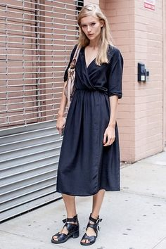 Reiss summer maxi dress + cute denim cropped jacket and flat brown leather sandals and brown leather bag.