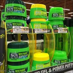 """As if """"Mess Maker"""" """"Power Gel"""" and """"Power Putty"""" weren't enough to command attention, Garnier® Fructis® employs singe- and double-wide, double-stacked display and shelf management outfitting to ta…"""