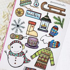 40 bullet journal winter doodle ideas you can use to spruce up your spreads, planners, trackers, and collections in your bullet journal. Bullet Journal Hacks, Bullet Journal Spread, Bullet Journal Layout, Bullet Journal Inspiration, Bullet Journals, Bujo Doodles, Christmas Doodles, Cute Snowman, Christmas Illustration