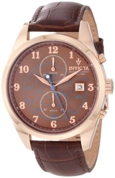 Invicta Men's 12389 Vintage Chronograph Brown Dial Brown Leather Strap Watch Invicta. $103.93. Water-resistant to 50 M (165 feet). Chronograph functions with 60 second, 60 minute subdials; date function. Brown dial with rose gold tone hands and Arabic numerals; blue tachymeter on center of dial. Japanese quartz movement. Flame-fusion crystal; 18k rose gold ion-plated stainless steel case; brown leather strap with reptile pattern. Save 90% Off!