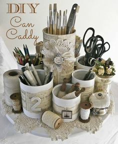 In honour of this special day I've rounded up 25 recycled tin can crafts and projects. I am amazed at all the incredible things one can do with a simple tin can! Take a peek at all these fun ideas! Chalkboard Paint Tin Can Pots Shabby Chic Homes, Shabby Chic Style, Shabby Chic Decor, Shabby Cottage, Rustic Chic, Shabby Chic Crafts, Rustic Theme, Bohemian Style, Rustic Decor