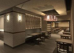 A rendering of our focal wall and custom lighting fixture.  Renderings and design created by Studio Grella.