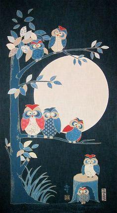 Japanese panel - Owl Family