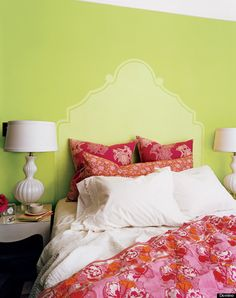 No room for a headboard? Take a stencil and paint one on your bedroom wall instead!