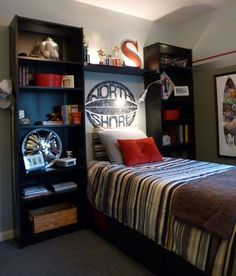 65 Cool Teenage Boys Room Decor Ideas + Designs Guide) : Cool Small Bedroom Ideas For Teenage Guys - Cool Teenage Boys Room Decor Ideas: Best Teen Boy Room Designs and Decorating Ideas Boys Car Bedroom, Boys Bedroom Decor, Small Room Bedroom, Bedroom Ideas, Male Bedroom, Bedroom Designs, Boy Rooms, Bedroom Red, Bedroom Stuff