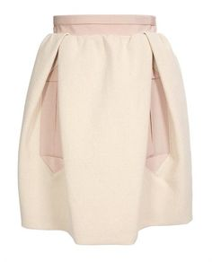 Carven Cotton Canvas And Grosgrai Skirt.