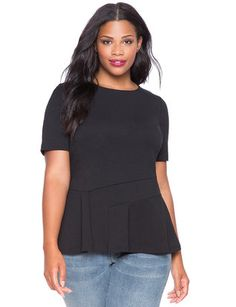 eloquii Asymmetrical Peplum Top Black #plussizefashion