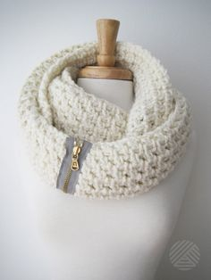 Chunky, Crochet Infinity Scarf, Eternity Scarf, Circle Scarf, Wrap Scarf  - Neutral, Cream, Off white, Gold zipper on Etsy, $68.00