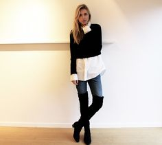 Winter / Fall / BW / Casual / Over the knee boots Ps: Camisa com blusa curta por cima