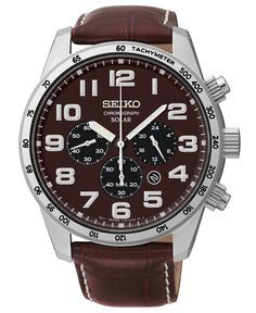 Seiko Men's Chronograph Solar Brown Leather Strap Watch 45mm SSC227 - Watches - Jewelry & Watches - Macy's