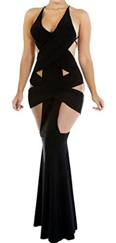 La vogue 1Stk. Schwarz Erotik Cocktailkleid Abendkleid Maxi Kleider Sommer
