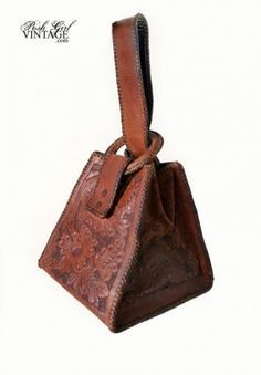 1920's Hand Tooled Leather Box Purse