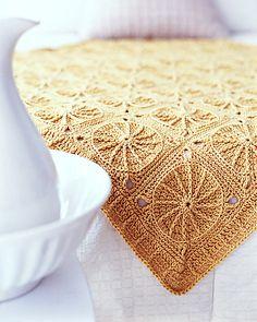 "Sunny Spread Free Crochet Pattern. Designed by Ellen K. Gormley RED HEART® ""Super Saver®"": 7 skeins 320 Cornmeal Crochet hook: J-10 (6mm) Yarn needle Finished Measurements: Approx 52""/132cm wide x 52""/132cm long Free Pattern More Patterns Like This!"