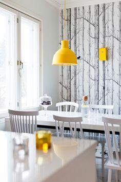 Keittiö @ Asuntomessublogit Kitchen Dining, Dining Room, Marimekko, Scandinavian Style, Kitchens, Minimalist, Walls, Design Ideas, Ceiling Lights