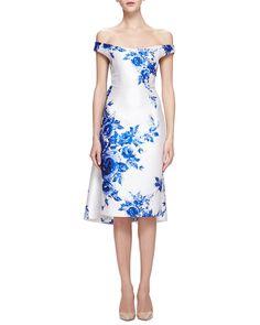 Lela Rose Off-The-Shoulder Floral-Print Watteau Dress