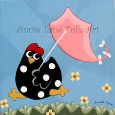 SPRING CHICKEN - Whimsical Chicken Flying Kite Painting on Wood - Folk Art Chicken - Whimsical Animals Art @ https://www.etsy.com/shop/AnnieLane