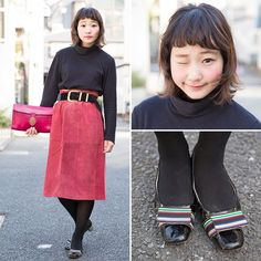 Vintage-loving @Nari_Eye on the street in Harajuku wearing a cute look featuring a Uniqlo turtleneck, a belted midi skirt, a leather clutch, and bow shoes.