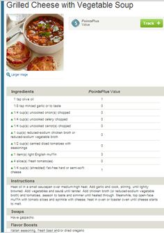 Weight Watchers Simple Start - Grilled Cheese with Vegetable Soup. People who attend meetings lose 8X more weight!