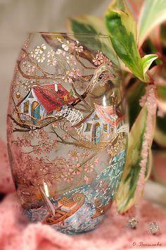 Pintado a mano jarrones de vidrio - Desem ¿Qué te gusto?