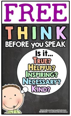 """FREE """"Think Before you Speak"""" color poster & blackline coloring sheeet"""