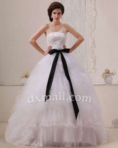 A-line Wedding Dresses Strapless Sweep/Brush Train Organza Satin Ivory 01001010053