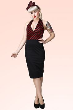Collectif Clothing - 50s Marilyn Red Polkadot Pencil Dress Black