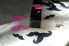Moustache Mustache Lips  Photo  Booth Props and Party Favors, Gender Reveal Shower, Die Cuts. $5.00, via Etsy.