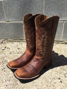Corral Teen Youth Vintage Honey Brown Square Toe Leather Boots E1229