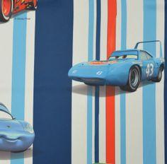 Blauw Gordijn LineCars  STRIPECAR.42.140  Kindergordijnen