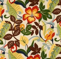 Fabric by the Yard, Indoor / Outdoor Floral Scroll - Red Blue Green Yellow Brown White by PillowsCushionsOhMy, $11.96