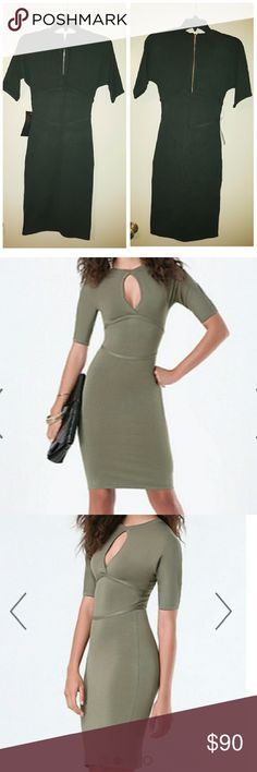 NWT Bebe Peekaboo Mock Neck Dress NWT Bebe peekaboo dress featuring a front keyhole and sleek elbow sleeves. Bodycon silhouette. 95% Rayon, 5% spandex. Hand wash.  First picture is the actual dress in a forest green color. 2nd and 3rd pics are what the dress looks like on, in a different color. bebe Dresses Midi