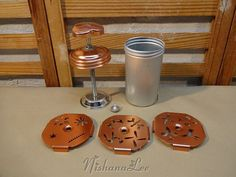 Vintage Copper Colored Aluminum Mirro Dial A by DebbiesDabblings
