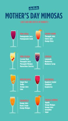"Best Mother's Day Mimosa Ideas - - Nothing says ""You're the best, Mom"" like brunch. Party Drinks, Fun Drinks, Healthy Drinks, Cocktail Drinks, Beverages, Healthy Food, Prosecco Cocktails, Champagne Brunch, Drinks With Champagne"