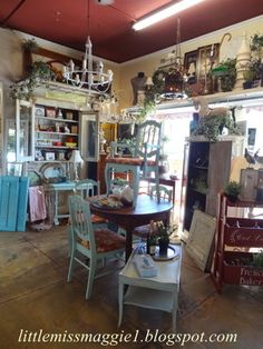 """The Polka Dot Closet: """"What Sells And What Doesn't: Antiques Mall In California"""" My space has two upper shelves and I also have a hanging swing I use for a shelf.  Everywhere the eye can see there is something to take in.  I can also hang items from my upper shelves.  We also stack our furniture to free up floor space for more inventory."""
