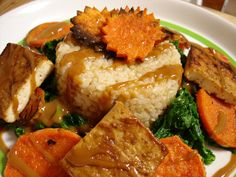 Peanut Baked Tofu with Spiced Roasted Sweet Potatoes, Mustard Greens #veganMonster