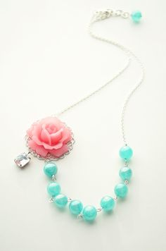 Bridesmaid Necklace - Wedding Jewelry, Pink and Teal Necklace, Aqua, Watermelon, Vintage Jewel, Asymmetrical Necklace. $38.00, via Etsy.