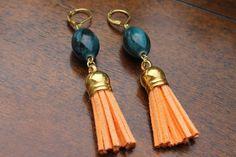 Blue and Orange Tassel Earrings Gold Earrings by GoldenTassel