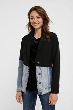 Hybrid-Blazer Slim Fit | Desigual Blazer Jeans, Blazer Jacket, Light Denim, Christian Lacroix, Denim Claro, Bleached Jeans, Diva Boutique, Denim Fabric, Blazer Buttons