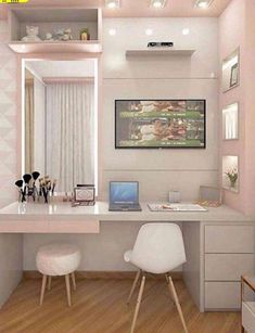Top Beautiful Teen Room Decor For Girls - Decor Teen Bedroom Designs, Bedroom Decor For Teen Girls, Room Ideas Bedroom, Teen Room Decor, Small Room Bedroom, Home Bedroom, Bedroom Office, Study Room Decor, Home Room Design