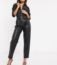 River Island Faux Leather Utility Jumpsuit in Black Leather Jumpsuit, Leather Pants, Black Catsuit, Boiler Suit, Lazy Outfits, 2020 Fashion Trends, Spring Trends, Who What Wear, Vegan Leather