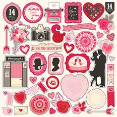 Echo Park - Blowing Kisses Collection - 12 x 12 Cardstock Stickers - Elements at Scrapbook.com